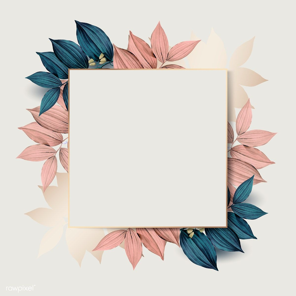 Download Premium Vector Of Square Gold Frame On Pink And Blue Leaf Pattern Pink Pattern Background Vector Background Pattern Background Patterns