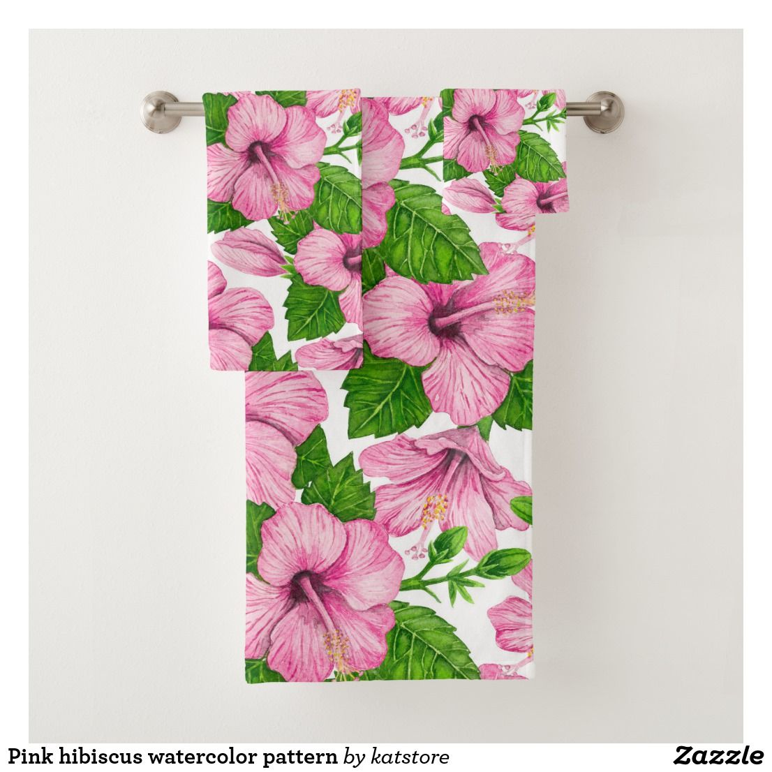Pink Hibiscus Watercolor Pattern Bath Towel Set Zazzle Com