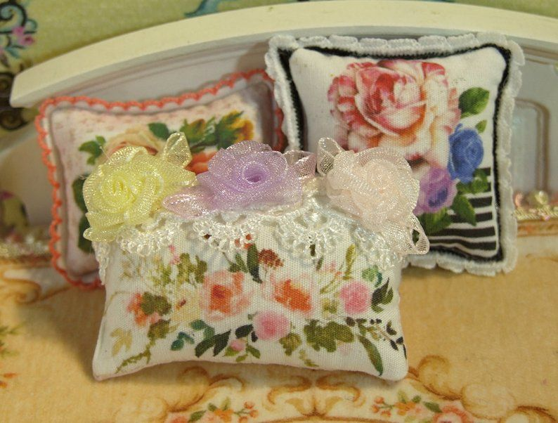 Rose and Daisy Beautiful Dollhouse Miniature Pillow 1:12 Scale