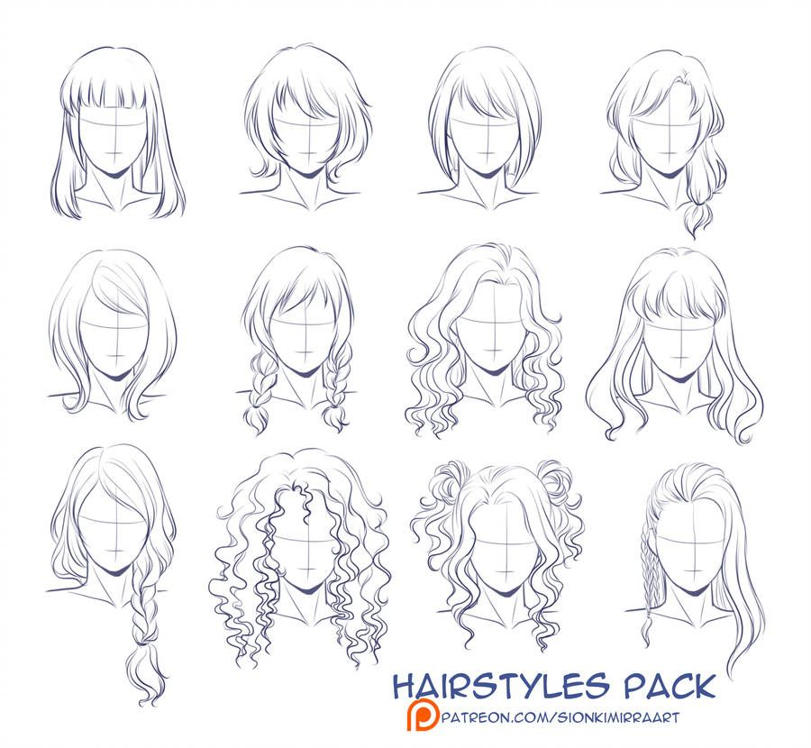 Hairstyles Practice By Kimir Ra Hair Sketch Art Drawings Hair Art