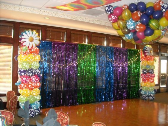 Disco backdrop Groovy theme party with balloon drop Birthday
