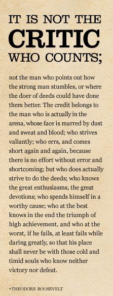 Teddy Roosevelt Quotes It Is Not The Critic