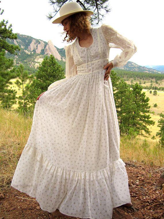 Gorgeous 1970\'s Cream & Floral Gunne Sax Maxi Dress. $65.00, via ...