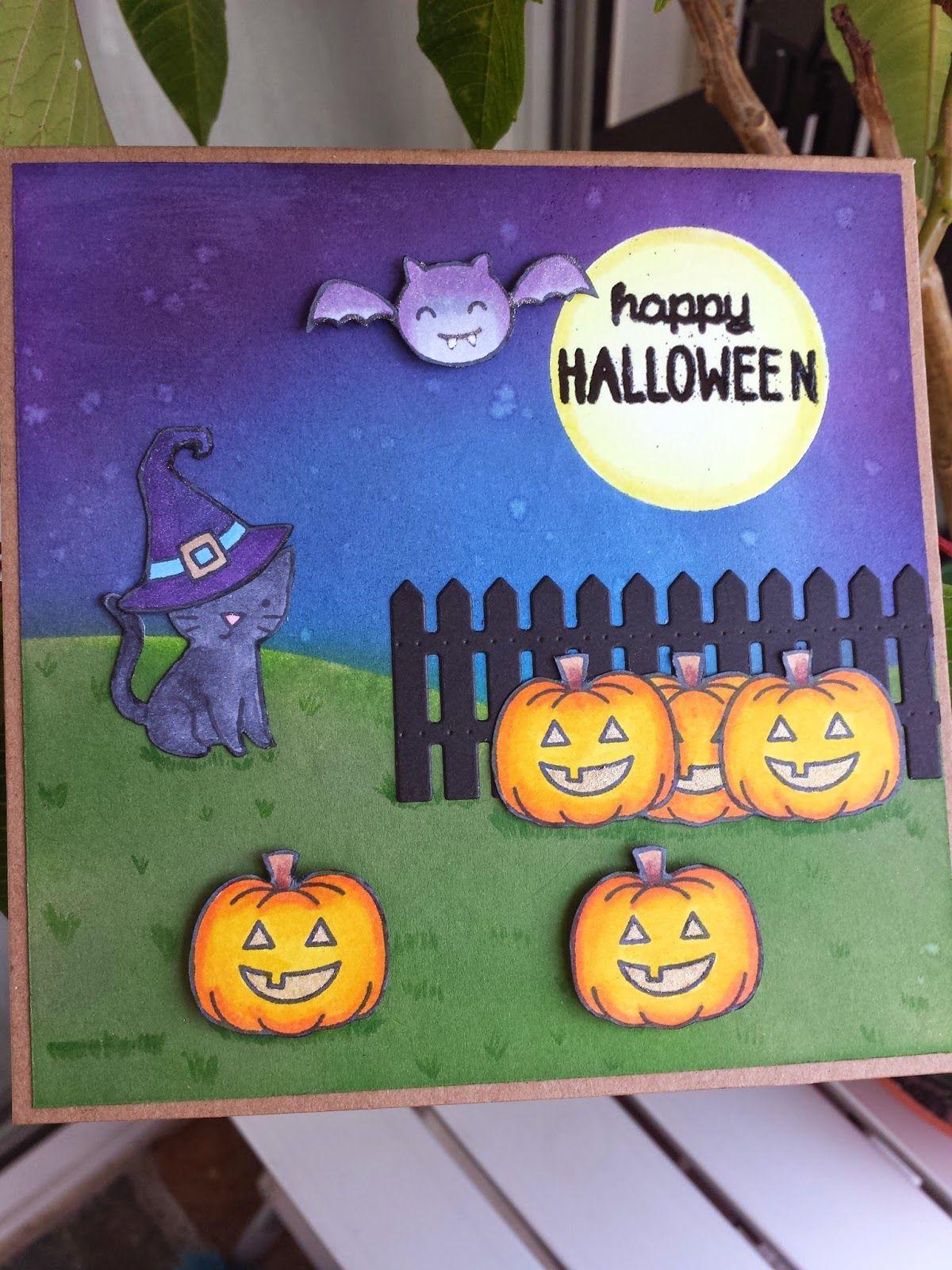 Lawn Fawn - Spooktacular _ Halloween Card By Esther At Arcadia De Papel:  Tarjeta Halloween Con Calabazas. Sellos De Lawn Fawn