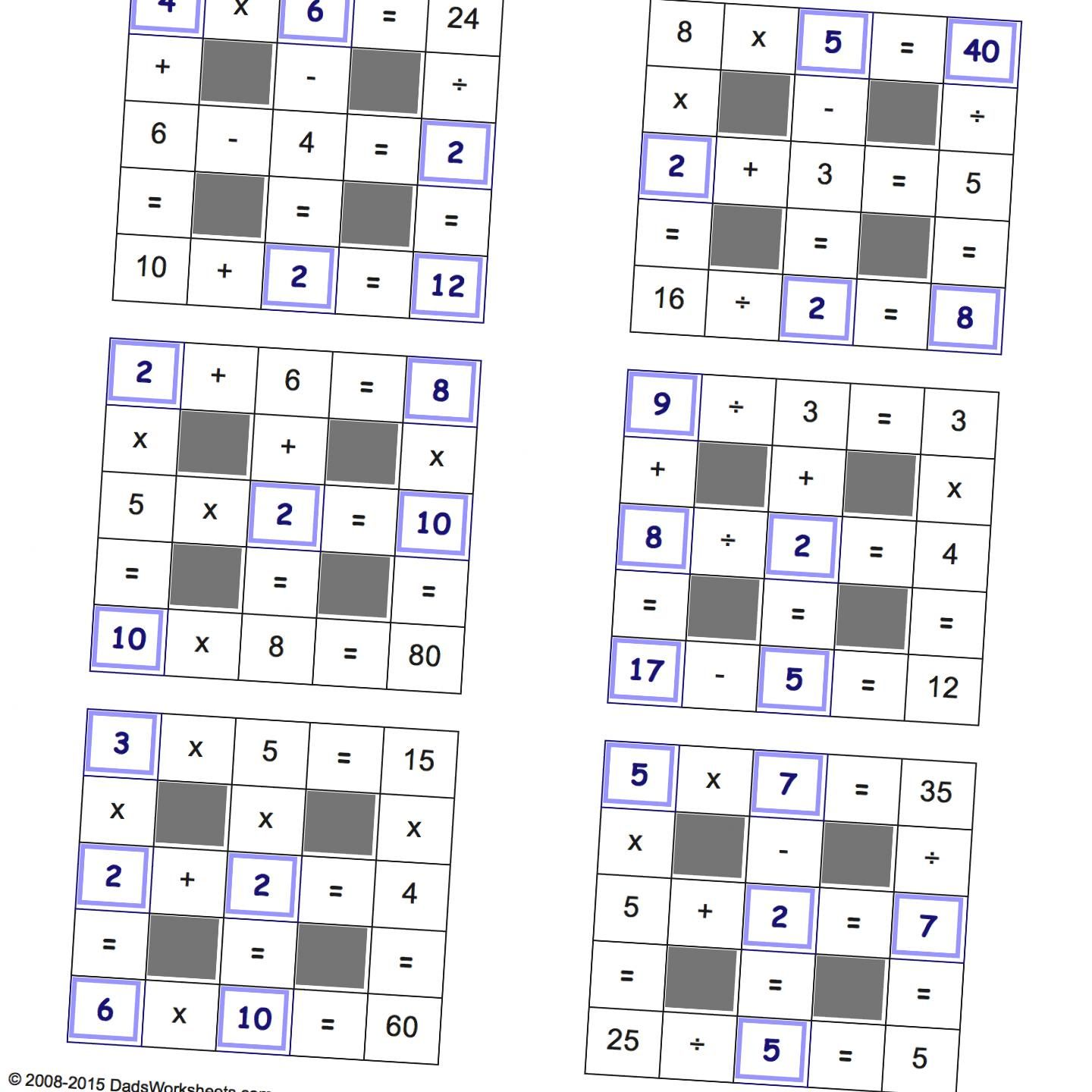 Grid Puzzles All Operations With Missing Values Small