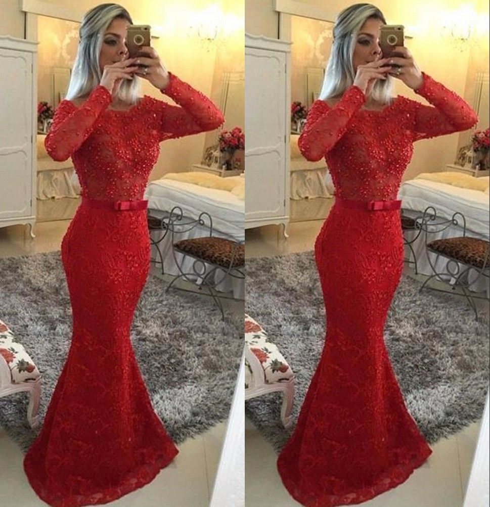 Click to buy ucuc sexy red scoop long sleeves prom dresses lace