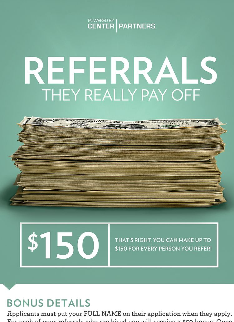 Center Partners Employee Referral Program Poster Close