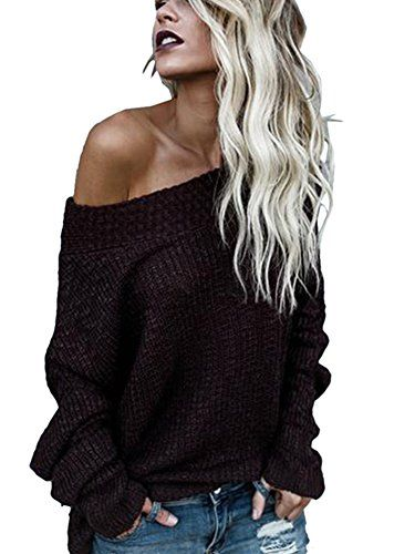 1e0b85eb662 Ruanyu Women s Casual Off Shoulder Loose Pullover Sweater... https   www