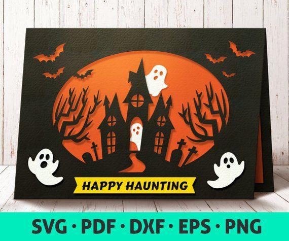 Halloween Card Svg Card Template Svg Cute Halloween Etsy Cricut Halloween Cards Halloween Paper Crafts Halloween Cards