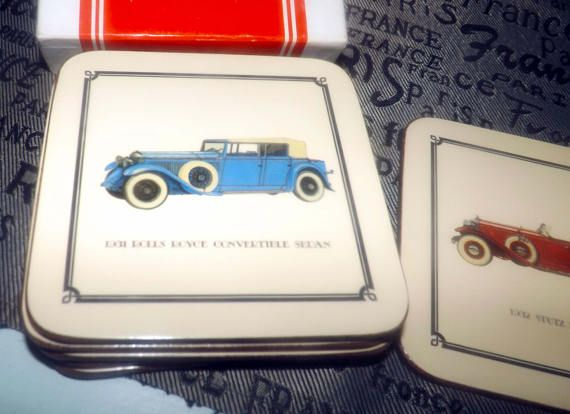 Set of 6 vintage (1960s) Pimpernel cork-backed coasters. Original box and inserts featuring classic cars | automobiles. Made in England