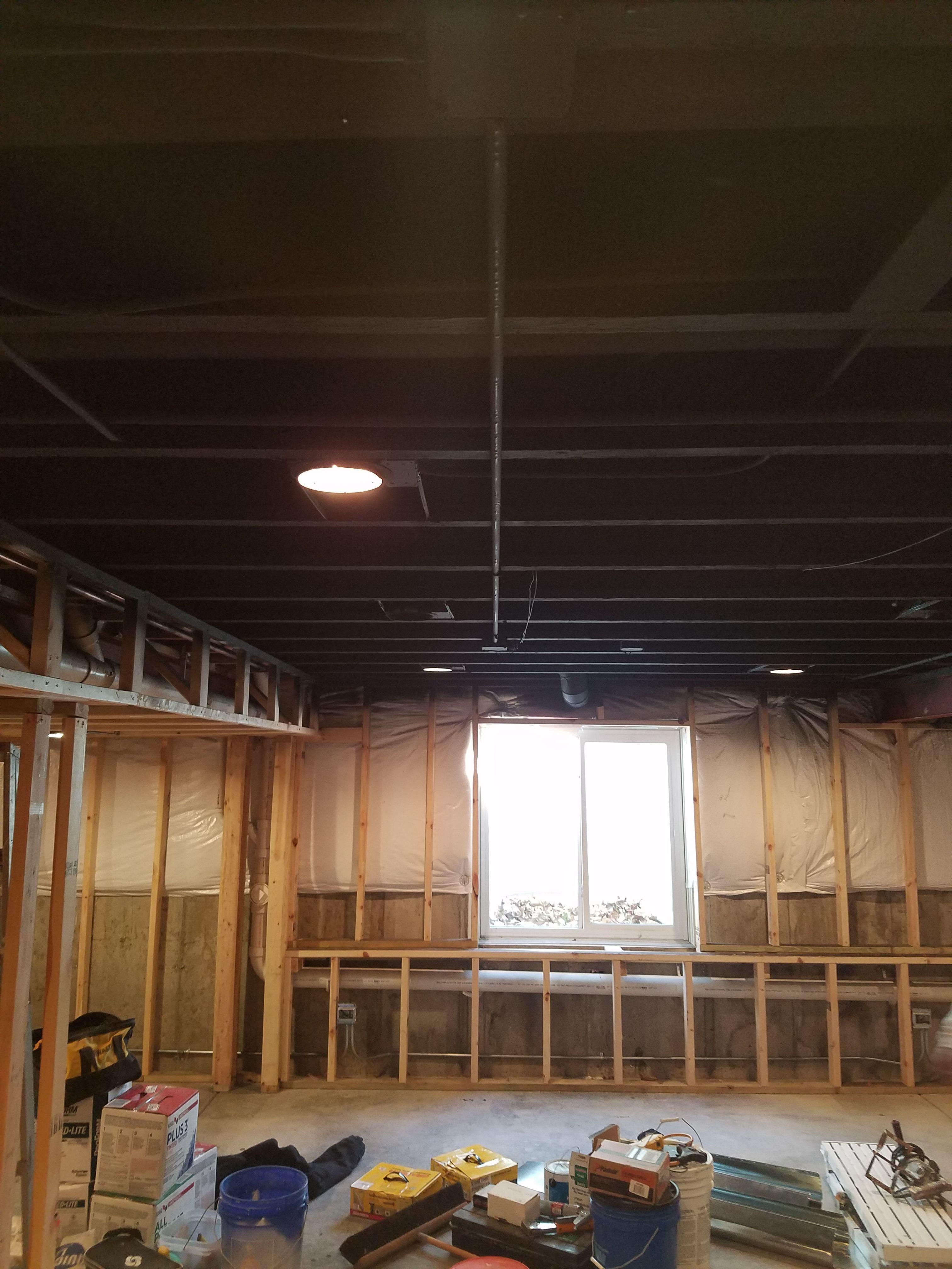 Basement Ceiling Painted Black Before Drywall In 2020 Basement