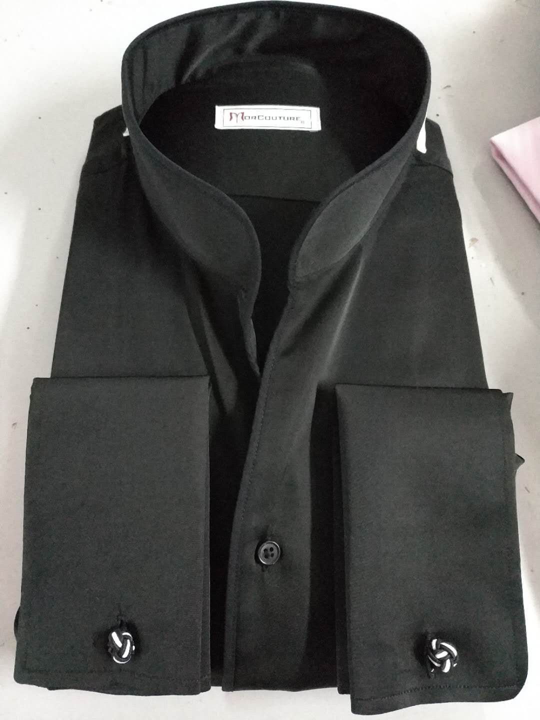 Morcouture Black Ban Collar Shirt If Unique Is What You Seek