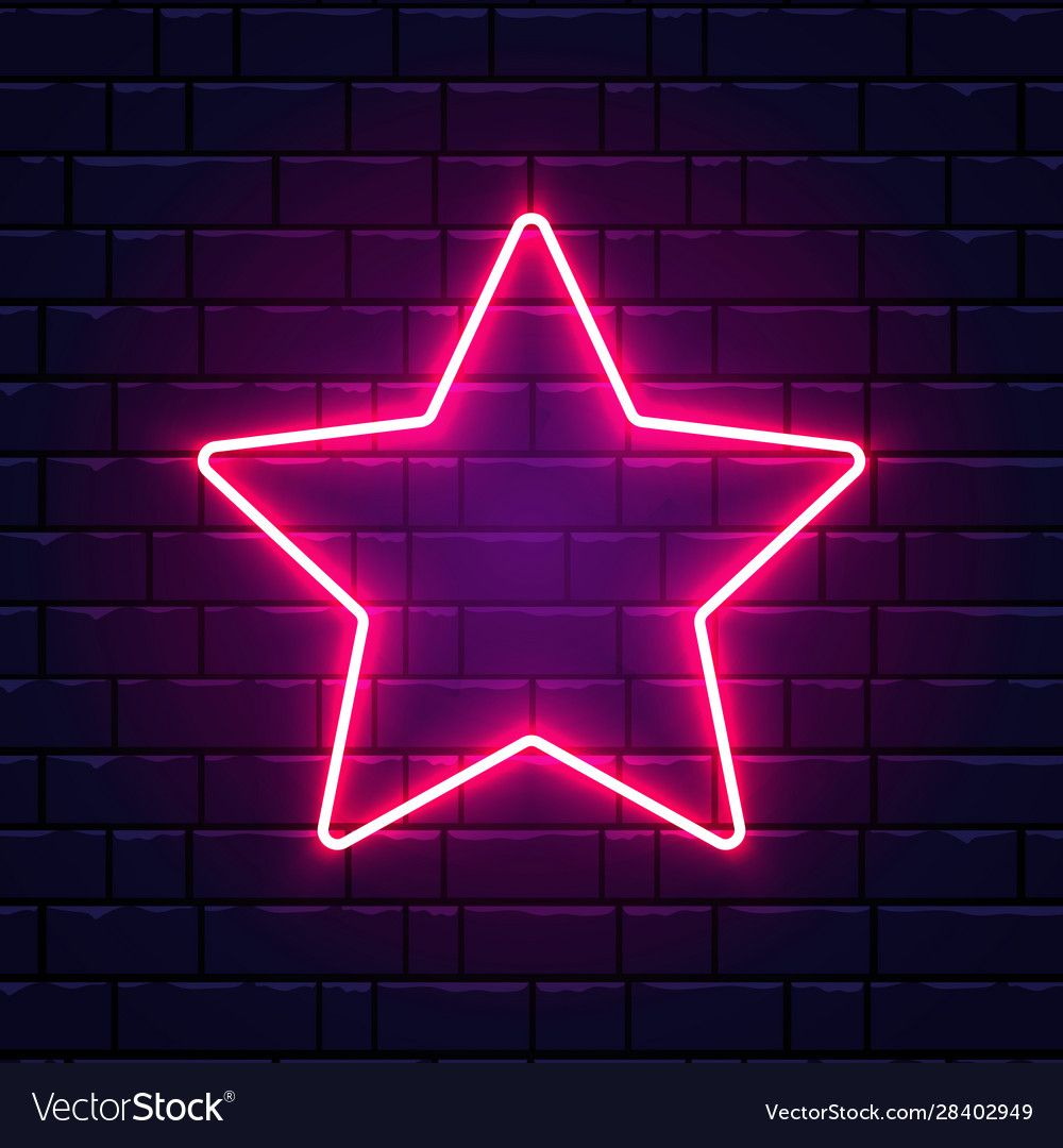 Neon star bright pink star frame on brick wall vector