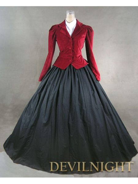 #Red Jacket #Winter #Gothic #Victorian Costume Dress