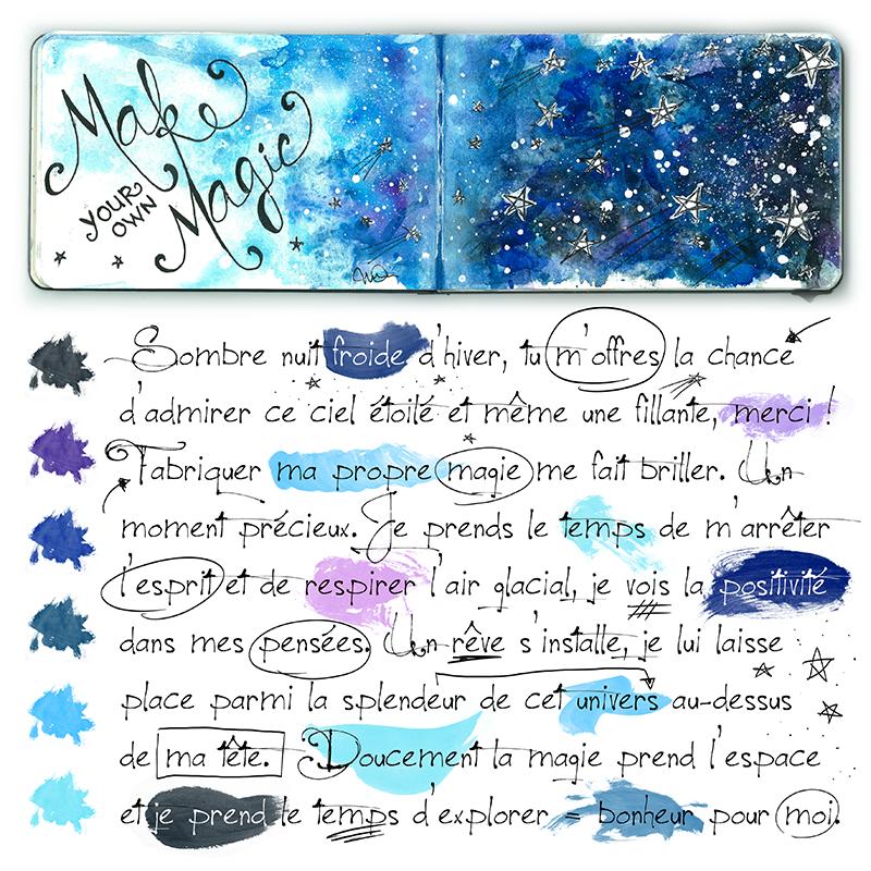 Ce Que J Aime Make Your Own Magic Aquarelle Watercolor Moleskine Art Journal Via Nadiartdesign Blogspot Ca Carnets De Croquis Aquarelle Ciel Etoile