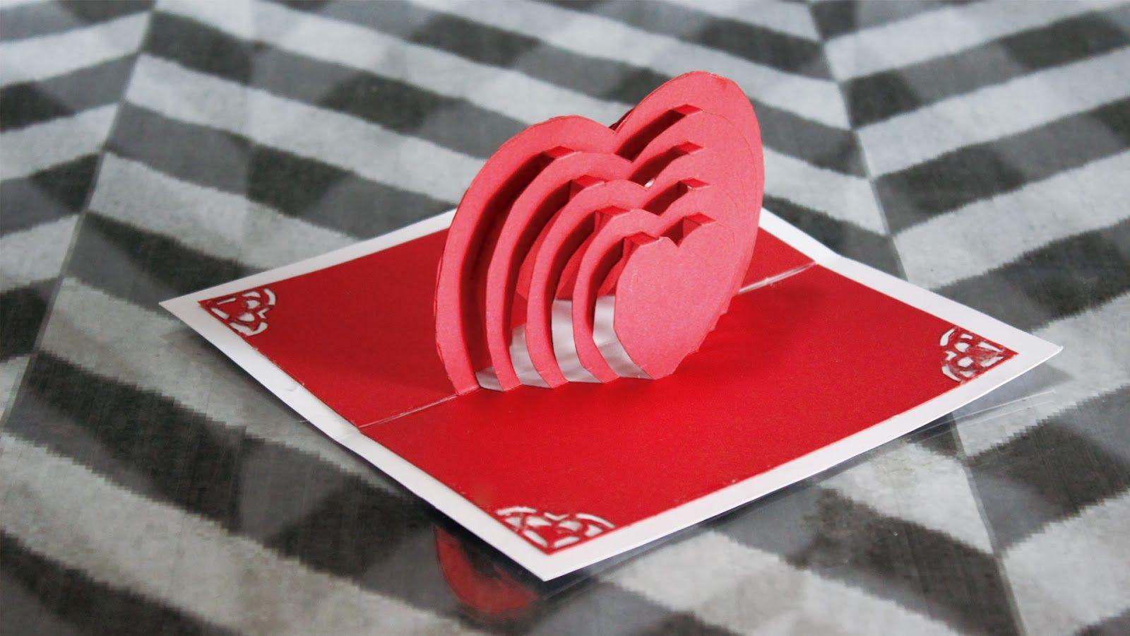 Jeguridos Crafts: Tarjeta Pop Up corazon en cascada / para san valentin