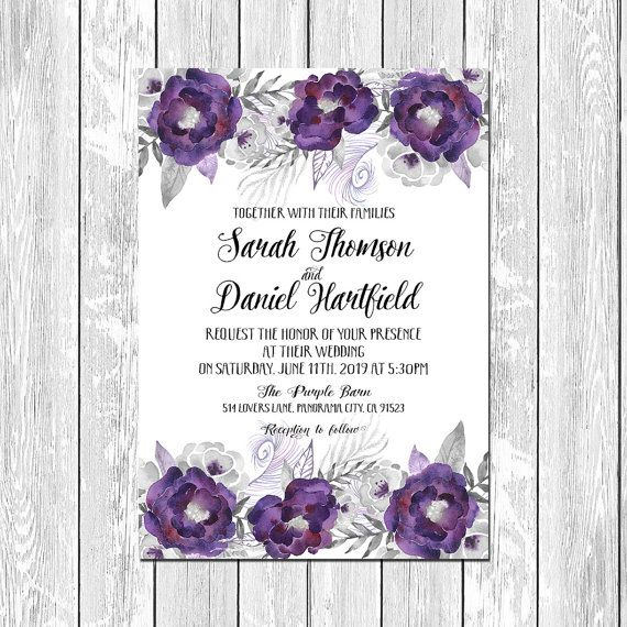 Printable Purple and Silver flowers wedding invitation, Purple and Gray invitation,  DIY Wedding Digital Files
