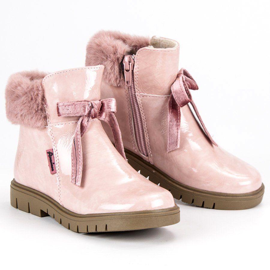 Kozaki Dla Dzieci Americanclub American Club Rozowe Lakierowane Botki American Boots Uggs Shoes