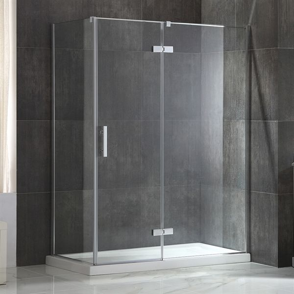 shop jacuzzi lea 60-in w x 76-in h frameless pivot shower door at