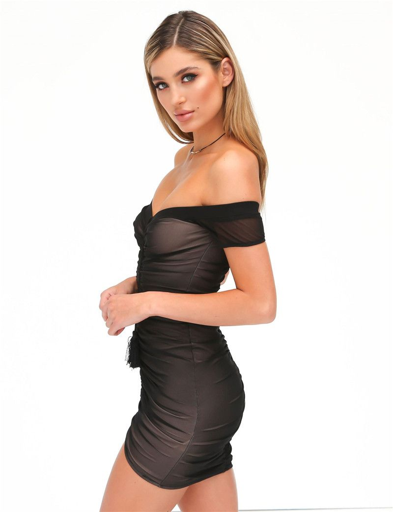 7a0080f9d61 Strapless Ruched Lift Up Drawstring Women Mesh Sheer Dresses Off Shoulder  Party Bodycon Dress Sexy Mini Club Dress