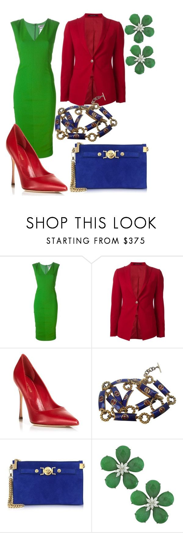 """""""Untitled #9"""" by zlata-miklashevich ❤ liked on Polyvore featuring beauty, Sportmax, Tagliatore, Sergio Rossi, Gucci, Versace and Siman Tu"""