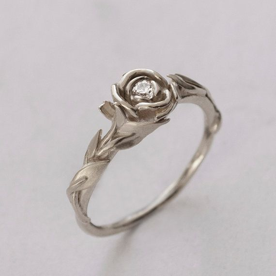 Rose Engagement Ring No2 14K White Gold and Diamond engagement