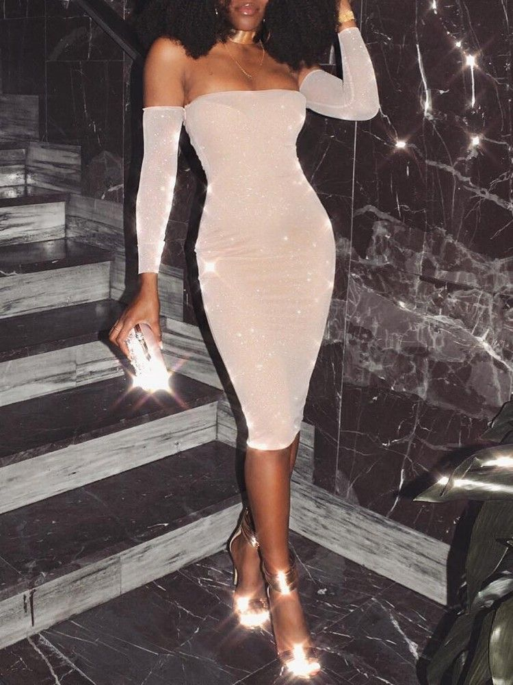 8be40e9bcd57 Shop Bodycon Dresses Glittering Off Shoulder Bodycon Midi Dress   womendressesclassy