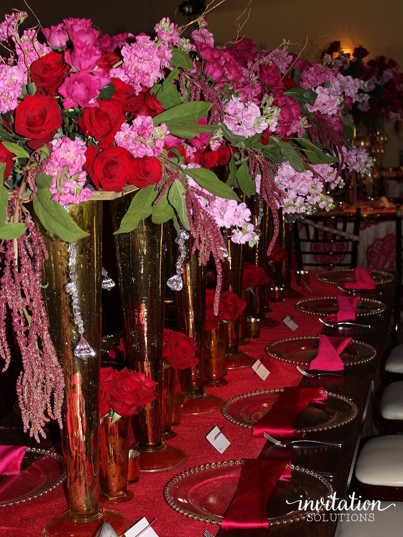 Geometric Watercolor Pink + Red Wedding Invitation Suite   rustic ...