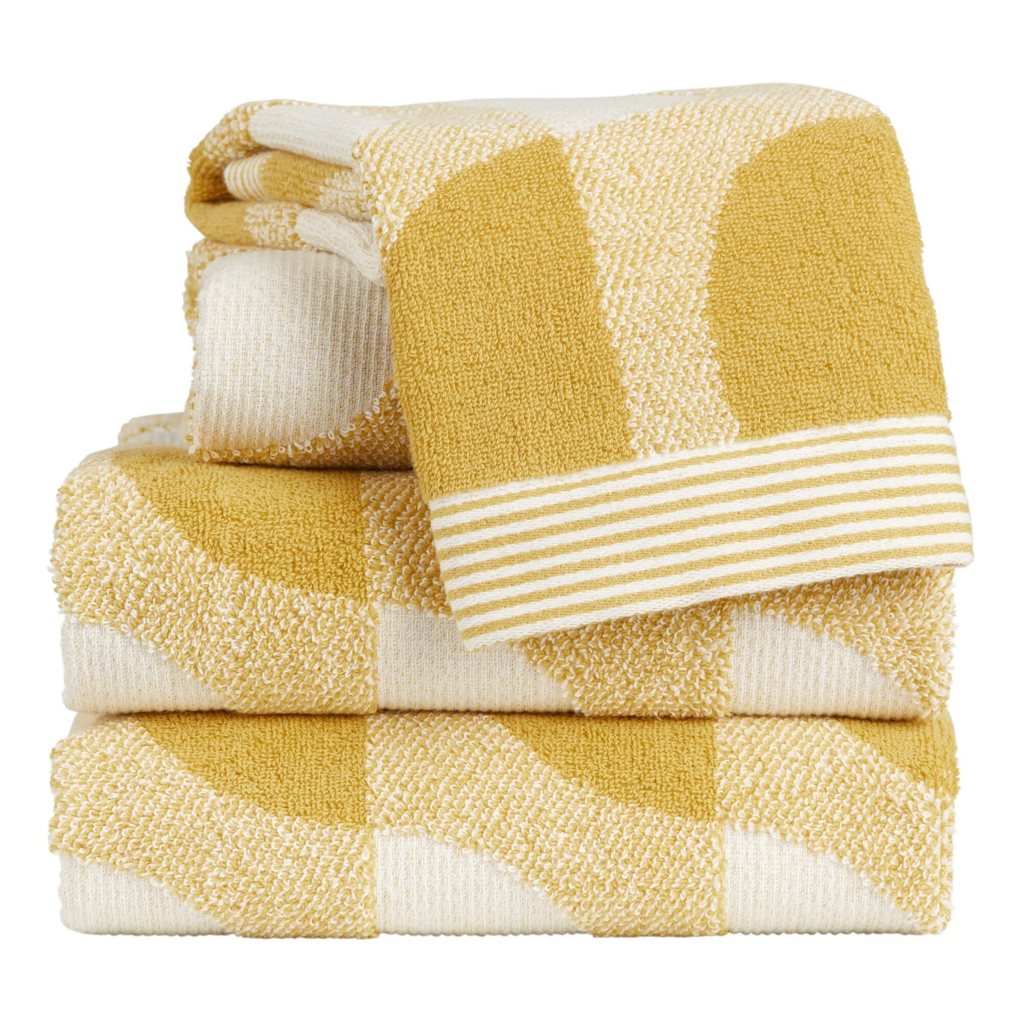 Mustard And Ivory Mod Geo Marlowe Towels In 2020 Towel Jacquard Pattern Bathroom Redo