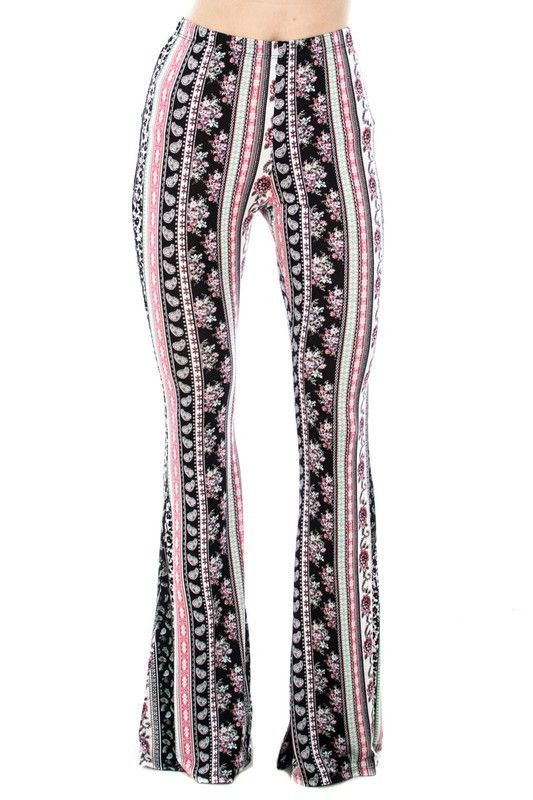 de78cde19e2c2 Black and Pink Floral Flare Pants in 2019