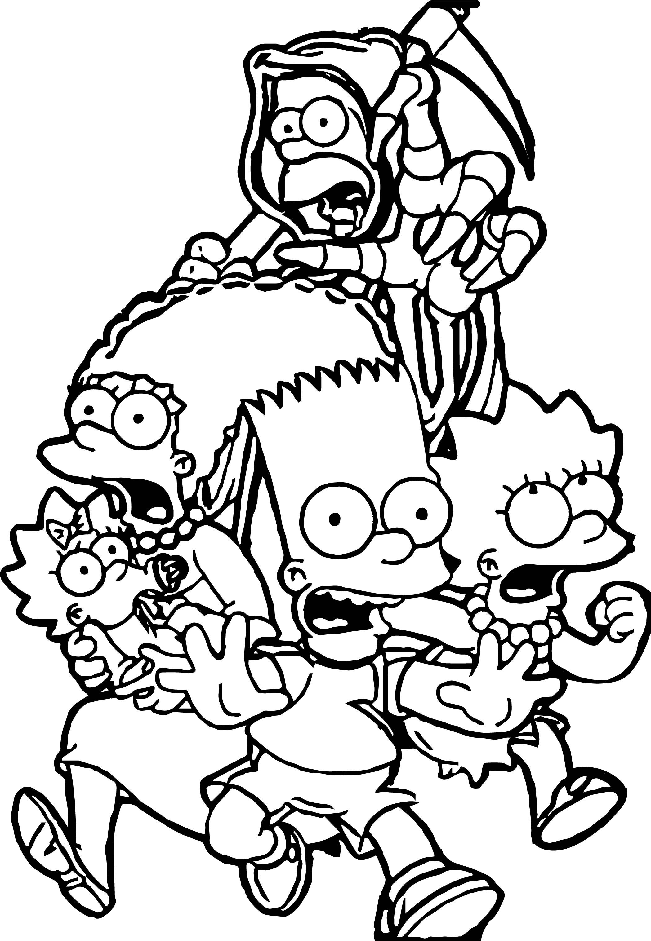 cool The Simpsons The Simpsons Scream Run Coloring Page ...