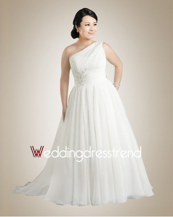 Plus Size One Shoulder Draped Chiffon Wedding Dress | Wedding ...
