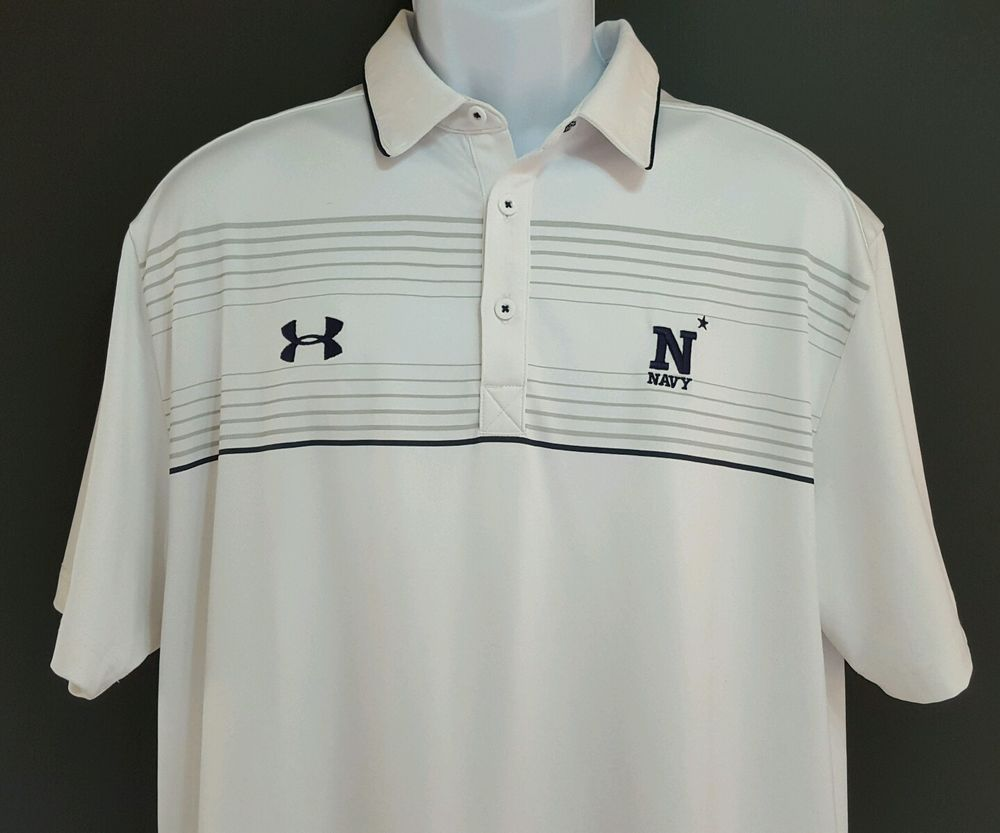 Under Armour Navy Midshipmen Collage Football Polo Shirt Mens Size Large  White