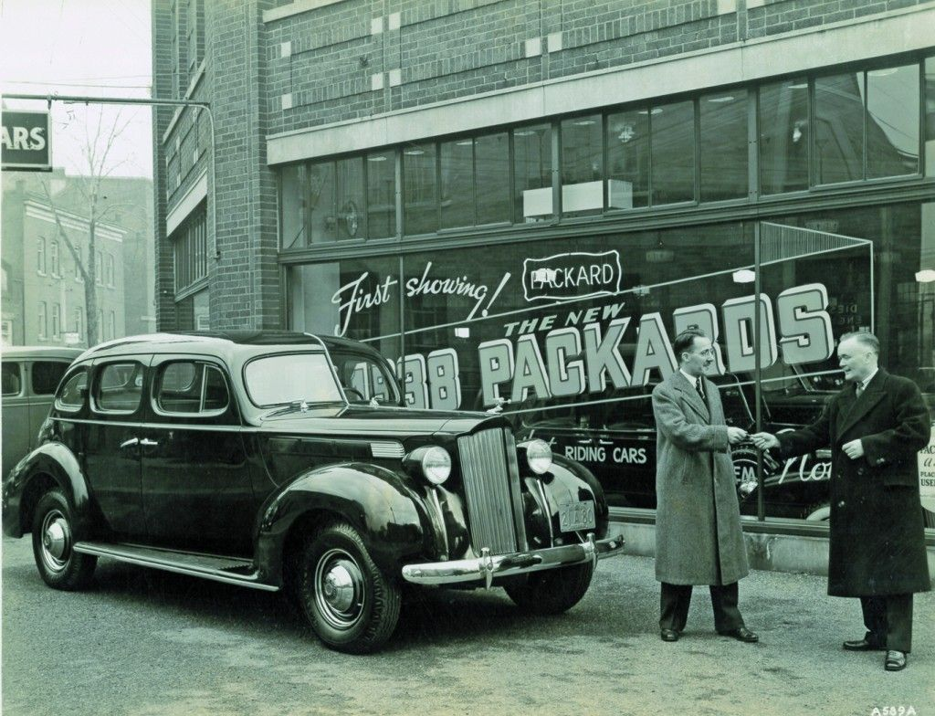 1938 Packard Six at Toronto dealership Car dealership