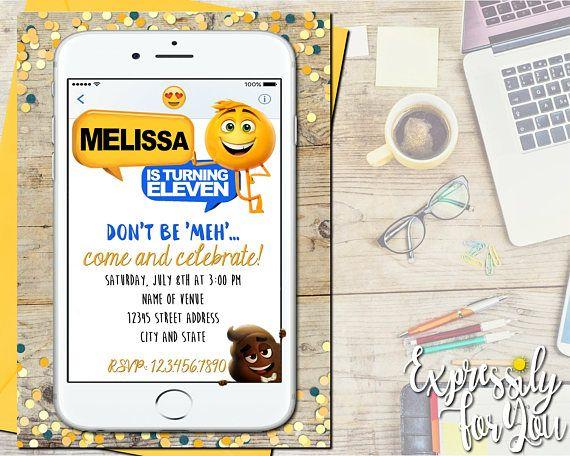 The Emoji Movie Birthday Invitation Invitations Invitatio