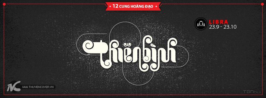 Ảnh bìa Facebook 12 Chòm sao theo phong cách Typography