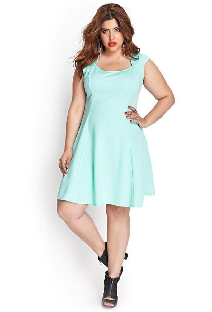 Forever 21+ Textured Skater Dress in Mint Plus Size 2X Retro ...