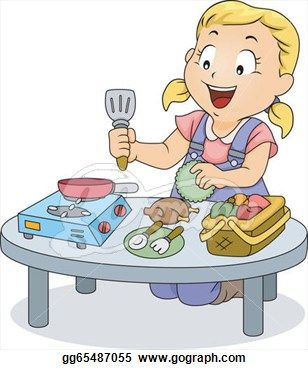 Illustration Kids Cooking Drawings Illustration Of A