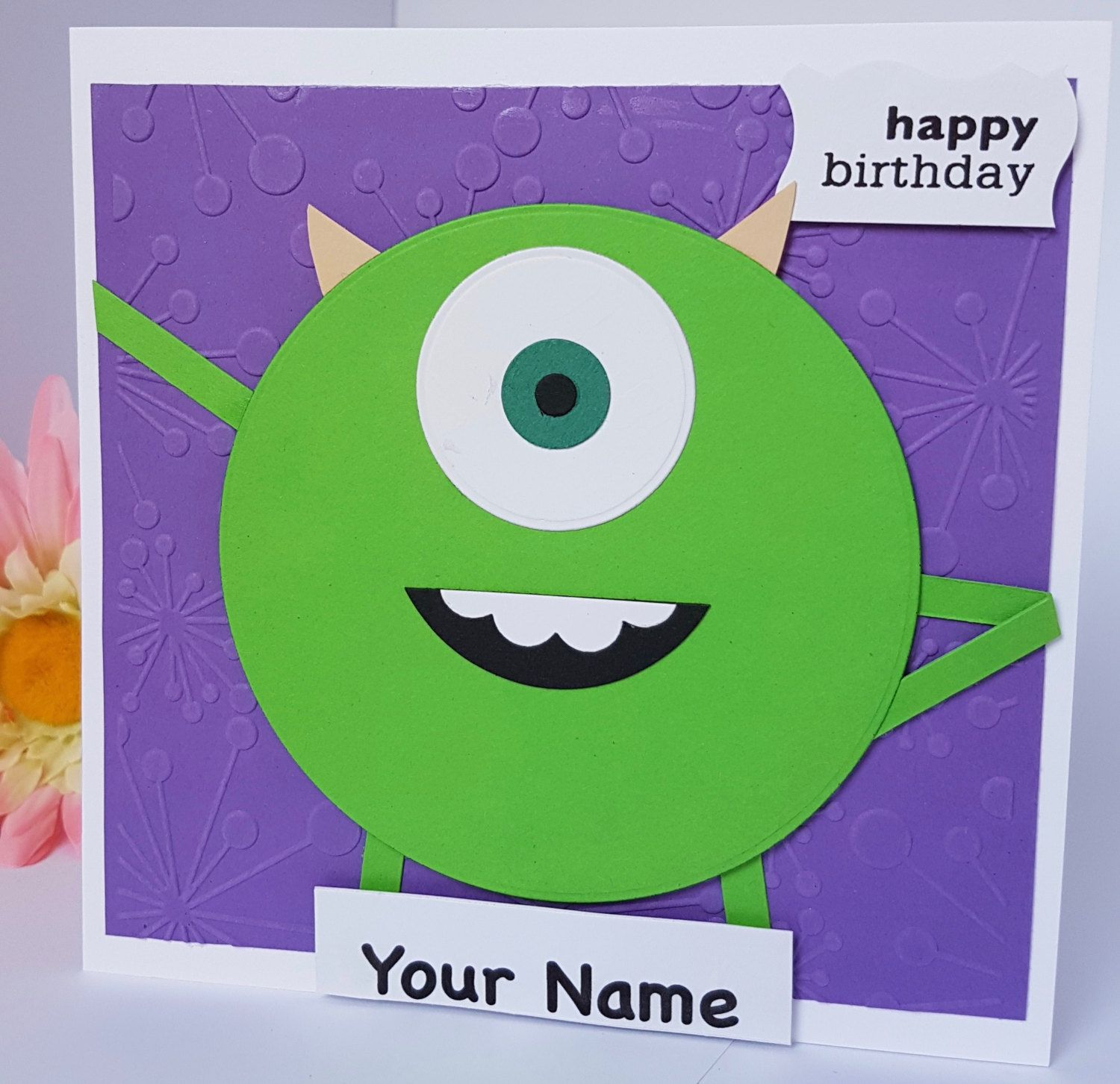 Personalised Mike Wazowski Monsters Inc Character Birthday Card Handmade Bd51 By Brightcraftbys Handmade Birthday Cards Monsters Inc Characters Birthday Cards