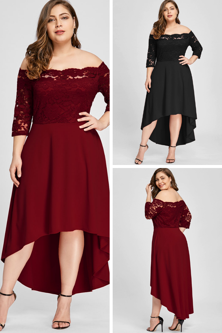2e759a9ceb 💞PLUS SIZE OFF SHOULDER HIGH LOW LACE DIP HEM PARTTY DRESS WOMEN ELEGANT DRESS  ASYMMETRIC MAXI DRESSES