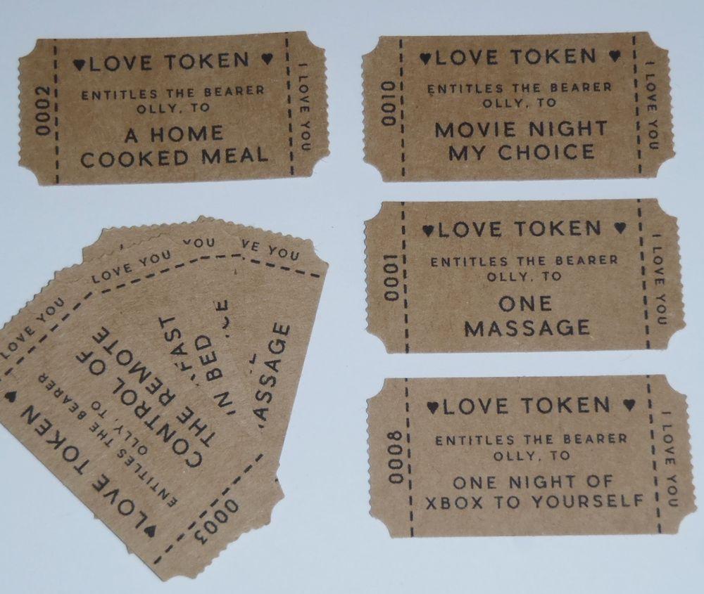 Customised Bag 15 Love Tokens Vouchers Date Idea