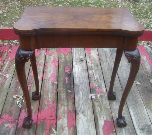 GREAT-OLD-ANTIQUE-1800s-FOLD-OVER-GAME-CONSOLE-HALL-TABLE
