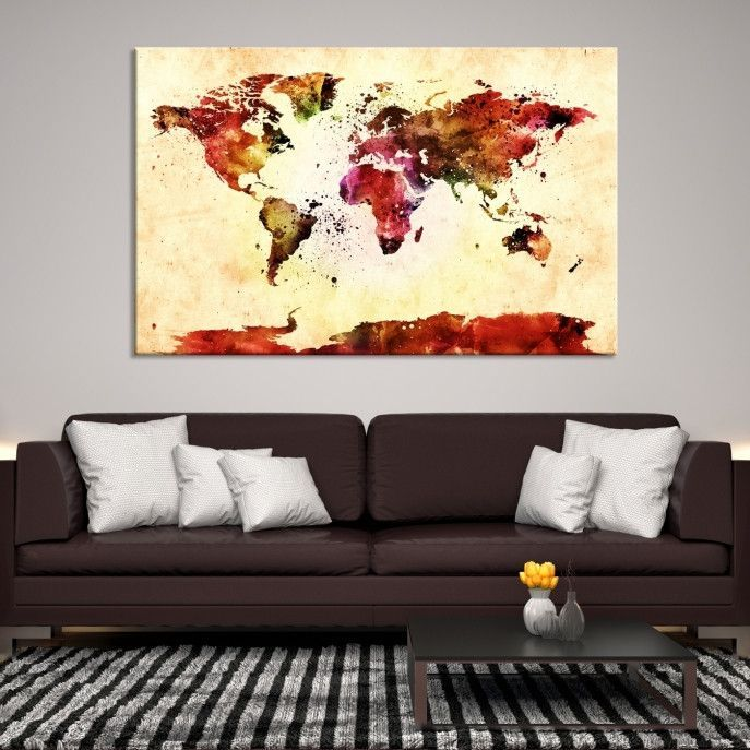Large wall art world map canvas print watercolor world map travel 39083 large wall art world map canvas print watercolor world map travel canvas print modern xxl large gumiabroncs Image collections