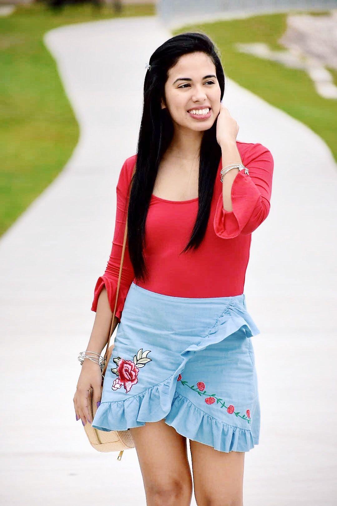 Chambray Rose Patch Skirt     March 14 , 2018    trendycitrus.wordpress.com    #chambrayskirt #redandblue #redbodysuit #springlook    XOMandySue code: Jessica35 for 35% off on xomandysue.com
