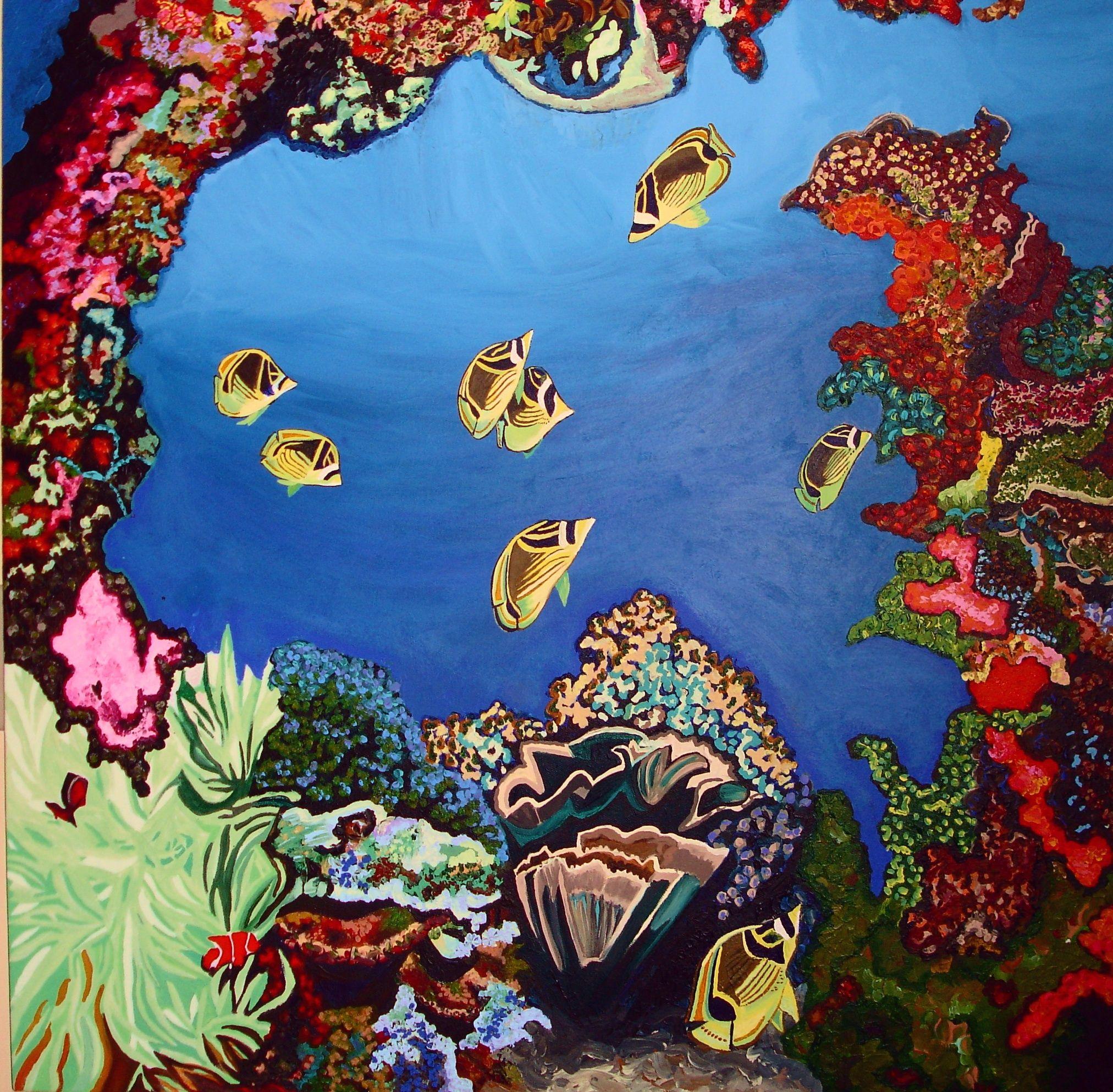 Coral Reef Painting | Tropical art, Painting, Underwater art