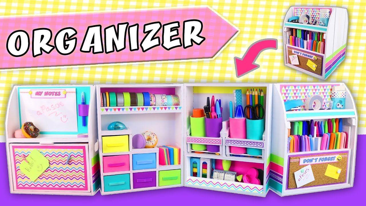 3 2 1 Diy Desk Organizer Expandable From Cardboard Back To Sch Desk Organization Diy Diy Desktop Organizer School Diy