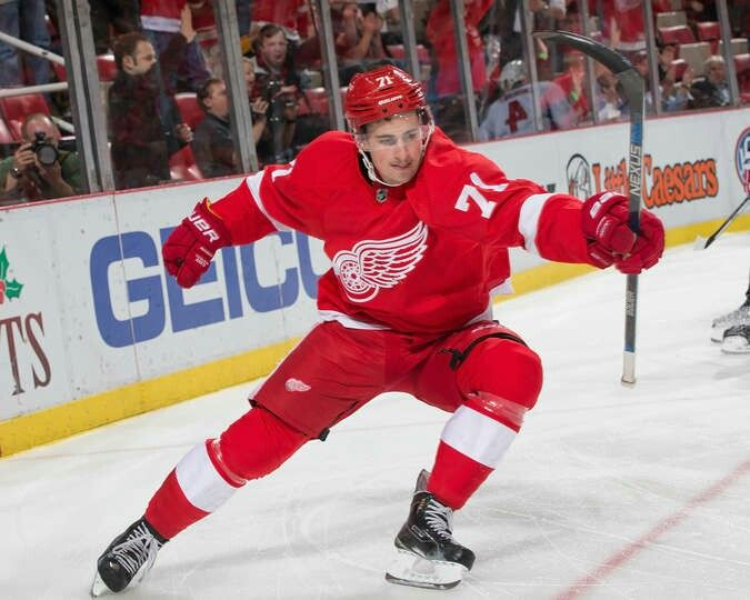 Dylan Larkin Celebrates His Goal Detroit Red Wings Red Wings Red Wings Hockey