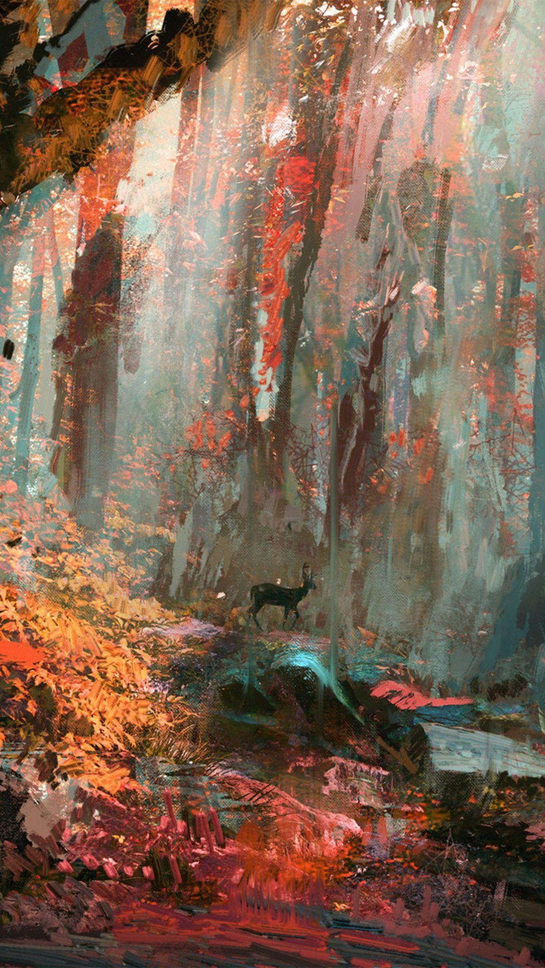 Rain Deer Forest Illustration Art IPhone 6 Wallpaper