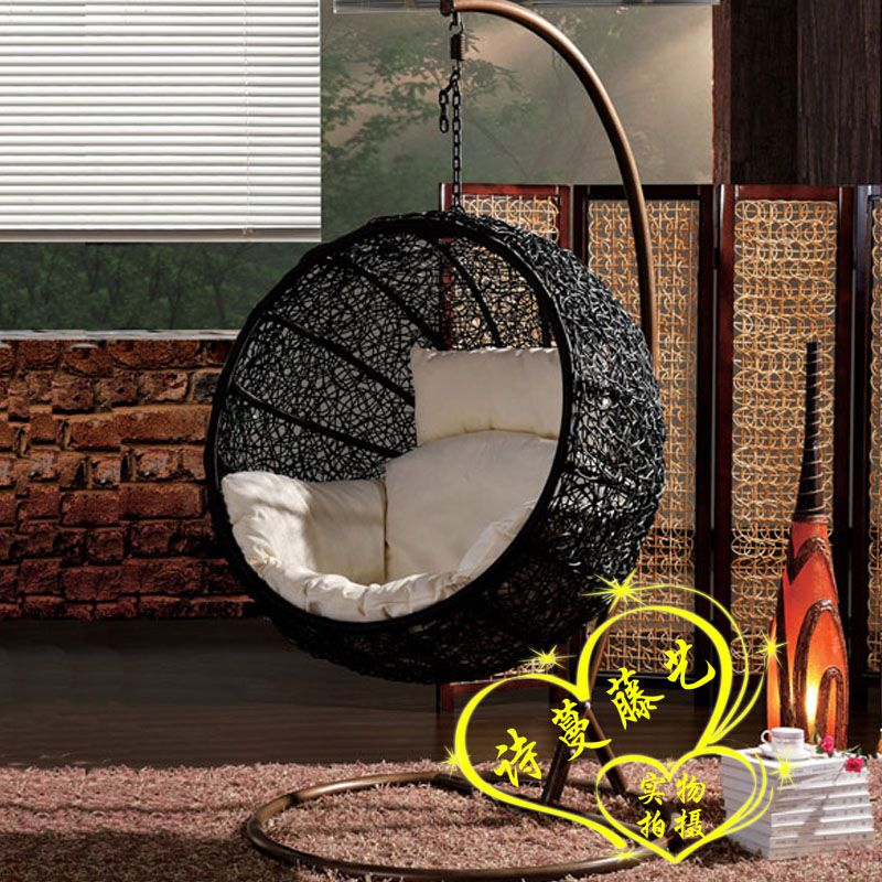 Rattan swing hammock lounged hanging basket cradle chair - Indoor hammock hanging ideas ...