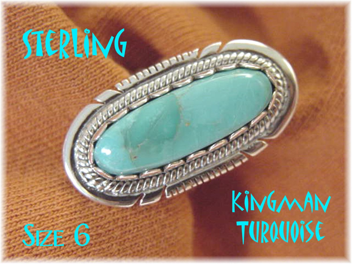 Kingman Turquoise - Sterling Silver Native American Indian Ring - Size 6 - Arizona Estate - New Old Stock NOS - Mothers Day - FREE SHIPPING